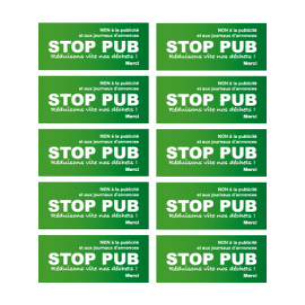 Stickers STOP PUB par 10