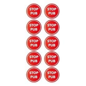 Stickers rond STOP PUB par 10