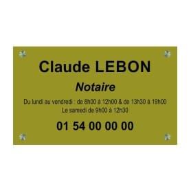Plaque Laiton Notaire 30x20cm