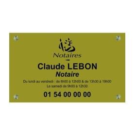 Plaque Laiton Notaire avec logo 30x20cm